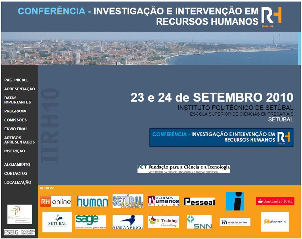Ver N.º 2 (2010): II Conferência em Investigação e Intervenção em RH